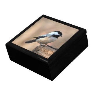 Chickadee in Golden Light Keepsake Box