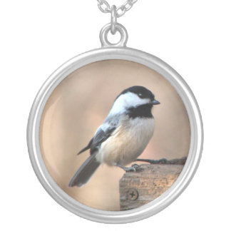 Chickadee in Golden Light Silver Plated Necklace