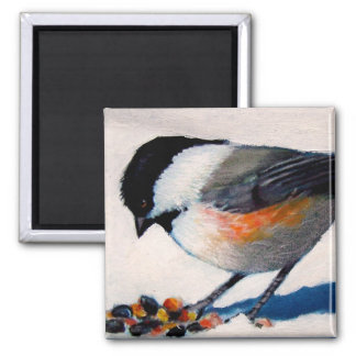 CHICKADEE IN SNOW OIL PASTEL MAGNET