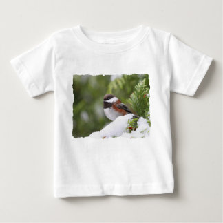 Chickadee in Snow on a Cedar Tree Baby T-Shirt
