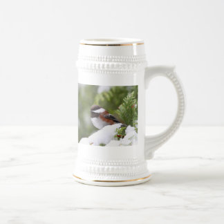 Chickadee in Snow on a Cedar Tree Beer Stein