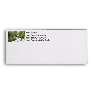 Chickadee in Snow on a Cedar Tree Envelope