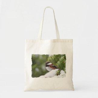Chickadee in Snow on a Cedar Tree Tote Bag