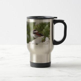 Chickadee in Snow on a Cedar Tree Travel Mug
