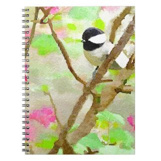Chickadee in the Cherry Tree Spiral Note Books