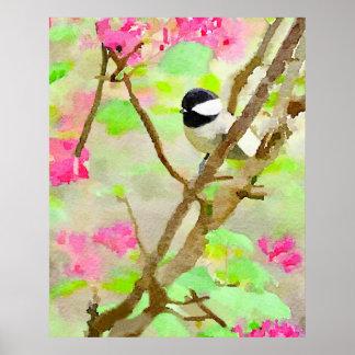 Chickadee in the Cherry Tree Poster