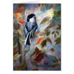 Chickadee In the Fall Blank Card