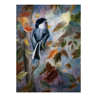 Chickadee In the Fall Poster
