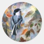 Chickadee In the Fall Round Sticker