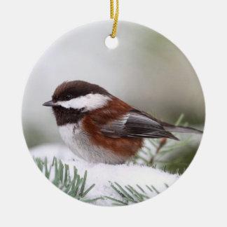 Chickadee in the Snow Ceramic Ornament