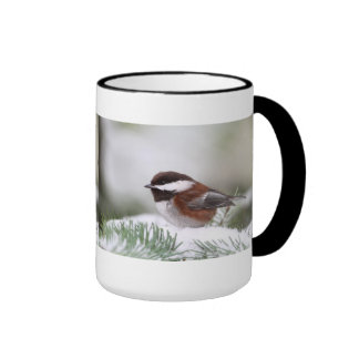 Chickadee in the Snow Ringer Mug