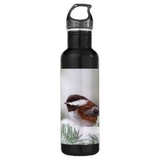 Chickadee in the Snow Stainless Steel Water Bottle