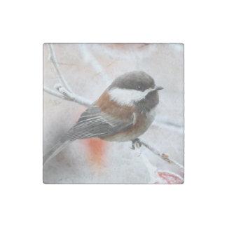 Chickadee in Winter Stone Magnet