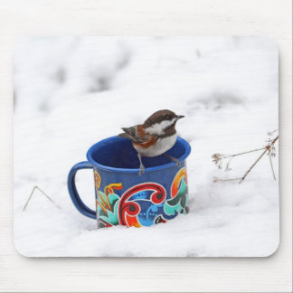 Chickadee in Winter Photo Mouse Pad