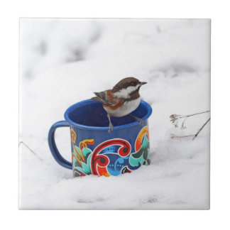 Chickadee in Winter Photo Ceramic Tile