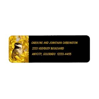 Chickadee in Yellow Flowers Return Address Label