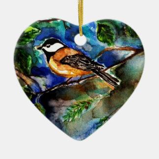 chickadee.jpg adorno navideño de cerámica en forma de corazón