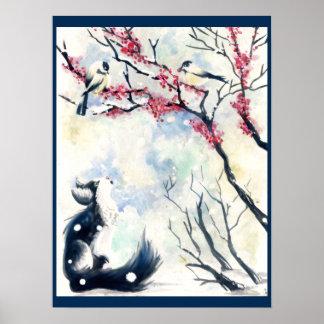Chickadee Kitten Poster