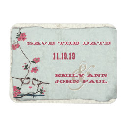 Chickadee Love Birds Cherry Blossoms Save the Date Magnet