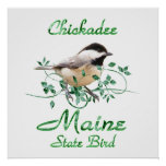 Chickadee Maine State Bird Poster