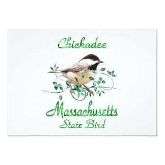 Chickadee Massachusetts State Bird Card