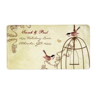 Chickadee Musical Bird Cage Swirl Return Address Label