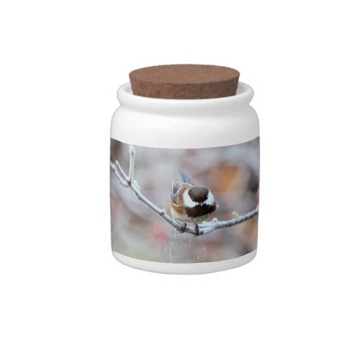 Chickadee on a Frosty Tree Branch Candy Dishes