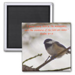 Chickadee on a Twig 2 Inch Square Magnet