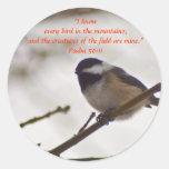 Chickadee on a Twig Classic Round Sticker