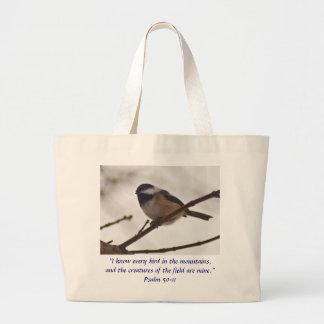 Chickadee on a Twig Large Tote Bag