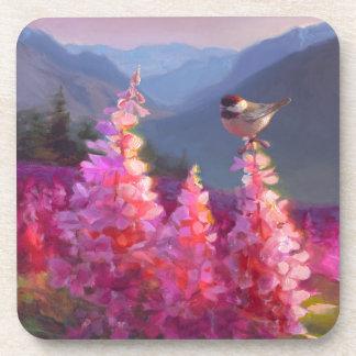 Chickadee on Alaskan Wildflowers With Mountains Beverage Coaster