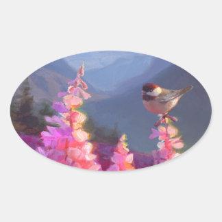 Chickadee on Alaskan Wildflowers With Mountains Oval Sticker