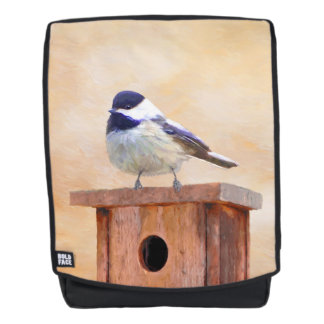 Chickadee on Birdhouse Backpack