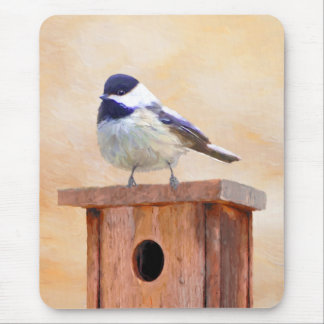 Chickadee on Birdhouse Mouse Pad