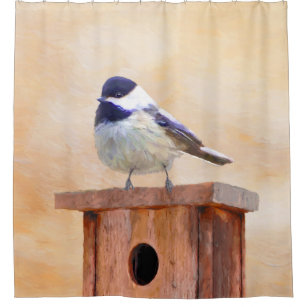 Chickadee On Birdhouse Painting