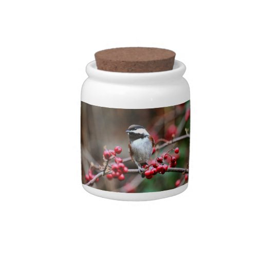 Chickadee on Branch with Red Berries Candy Dishes