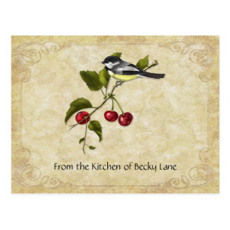 Chickadee on Cherry Branch Recipe Cards Postcard
