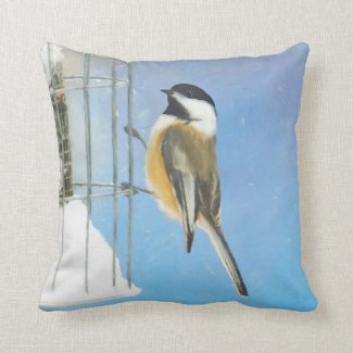 Chickadee on Feeder Throw Pillow