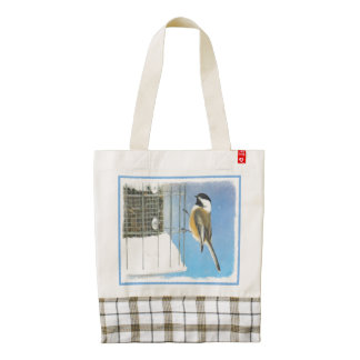 Chickadee on Feeder Zazzle HEART Tote Bag