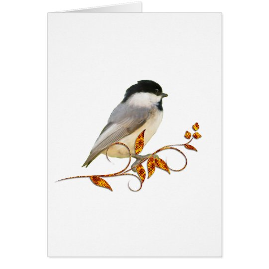 Chickadee on Jeweled Leaves Card
