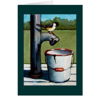 CHICKADEE ON PUMP PASTEL ART CARD