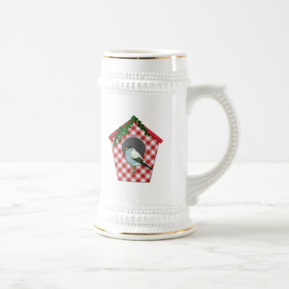 Chickadee on Red Gingham Ivy Covered House Beer Stein