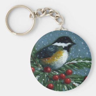CHICKADEE ON SNOWY PINE BRANCH KEYCHAIN