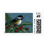 CHICKADEE ON SNOWY PINE BRANCH STAMPS