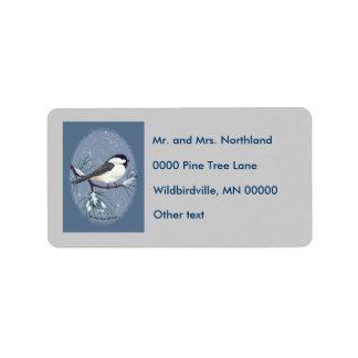 Chickadee Oval Gray Background Label