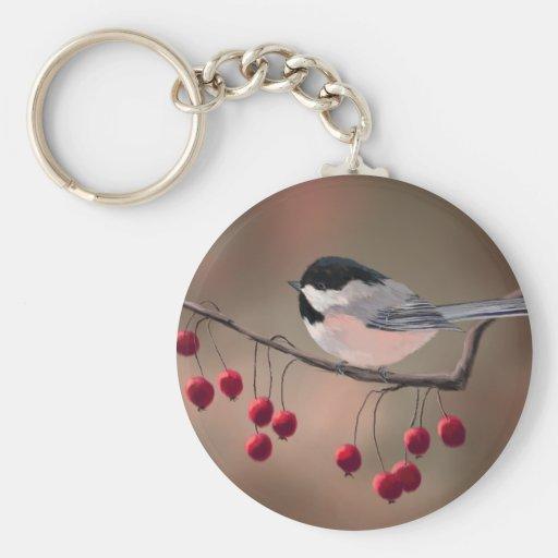 CHICKADEE & RED BERRIES by SHARON SHARPE Basic Round Button Keychain