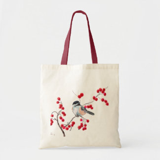 CHICKADEE & RED BERRIES by SHARON SHARPE Budget Tote Bag