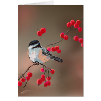 CHICKADEE & RED BERRIES by SHARON SHARPE Card