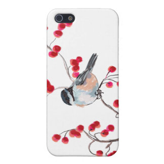 CHICKADEE & RED BERRIES by SHARON SHARPE Case For iPhone SE/5/5s