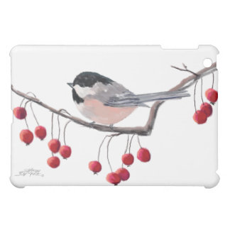 CHICKADEE & RED BERRIES by SHARON SHARPE Case For The iPad Mini